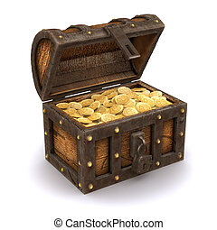 3d Pirates treasure chest - 3d render of an open treasure...