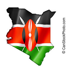 Kenyan flag map - Kenya flag map, three dimensional render,...