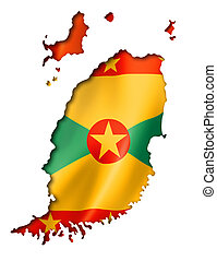 Grenada flag map, three dimensional render, isolated on...