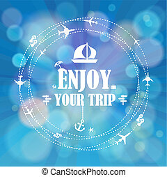 Summer holidays. Enjoy your trip poster vector background.