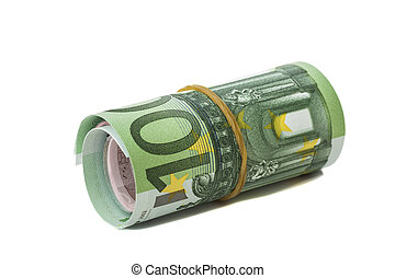 One hundred euro banknotes roll wit