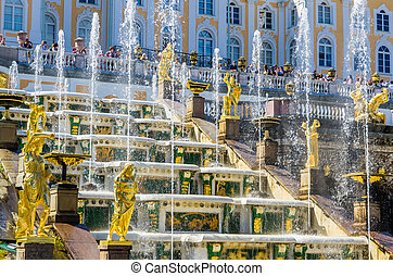 View on Great Cascade Fountain in Peterhof, Russia - View on...
