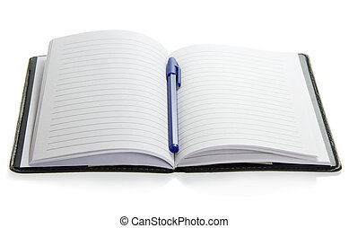 The blue handle on a notepad, isolated on white
