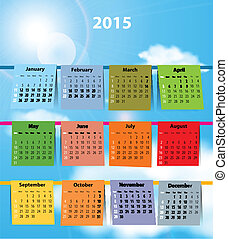 Colorful calendar for 2015 - Calendar for 2015 like laundry...