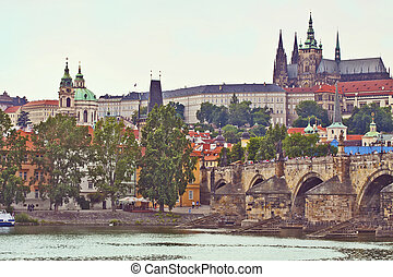 Prague panorama with the Castle and Charles Bridge -...