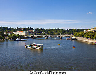 Prague, river Moldau - The river Moldau crosses the city of...