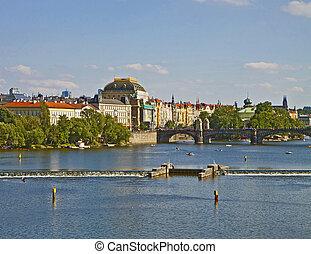 Prague, river Moldau - The river Moldau crosses the city of...