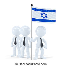 Business team holding flag of Israel. Isolated. Contains clipping path