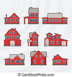 Townhouses icon set