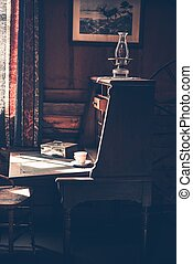 Vintage Desk in Dark Room - Vintage Wooden Desk in the Dark...