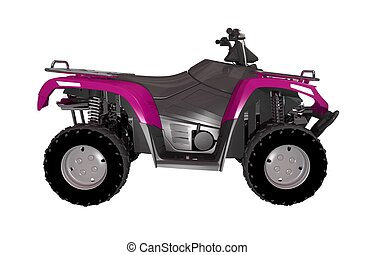 Pink ATV Bike Side View 3D Illustration Isolated on White