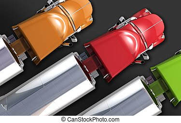 Semi Tanker Trucks Fleet Three Colorful Semi Trucks with...