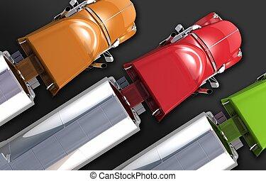 Semi Tanker Trucks Fleet. Three Colorful Semi Trucks with...