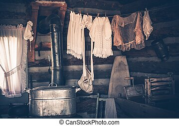 Laundry in Vintage House - Laundry in the Vintage Western...