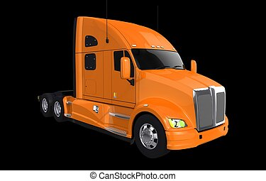 Orange Truck on Black - Modern Orange Semi Truck Isolated on...