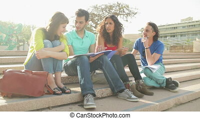 Collegiate Group Mates - Static close up of four students...