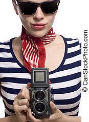 beautiful girl in classic 60s french look - beautiful girl...
