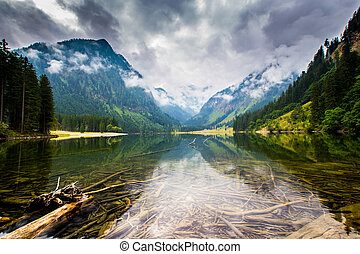 Lake - Mountain and lake in high Alps Austria