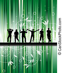 Party on green stripe background with flowers