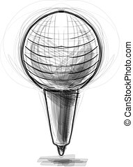Retro classic microphone. Cartoon sketch vector illustration