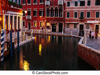 Canal in Venice at night