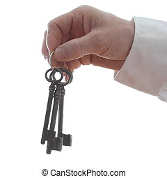 symbolic key - hand is holding a key ring with white...
