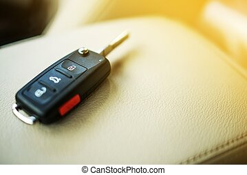 Brand New Car Keys on Leather Closeup. Cars Industry...