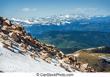 Rocky Mountains in Colorado. Early Summer Snowy Peaks....