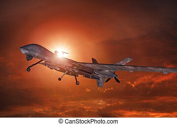 Military Drone Takeoff in the Sunset 3D Illustration.