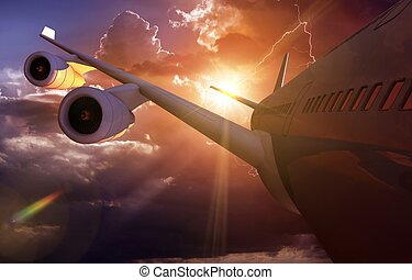 Airplane Journey Air Travel Concept Illustration. Modern...