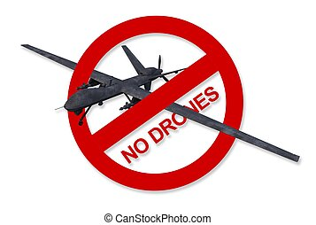 No Drones Sign Isolated - Red No Drones Sign Isolated on...
