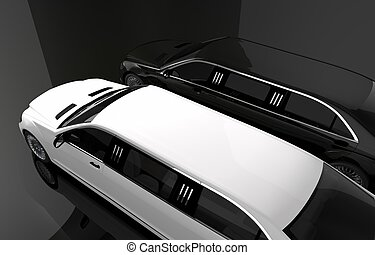 Black and White Limousine. Luxury Limos For Rent Concept...