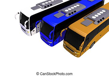 Three Colorful Buses on White. 3D Buses Illustration.