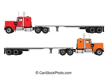 Flat Trailer Trucks Isolated on Solid White Background. Two...