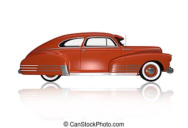 Classic Oldtimer Side View. Classic Car Illustration...