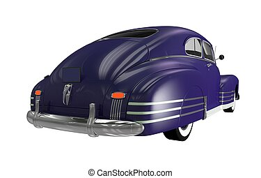 Rear of Classic Car. Dark Violet Classic Car Isolated on...