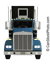 Semi Truck Front Isolated 3D Illustration
