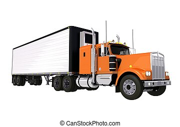 Truck with Trailer - Trucking Industry. Large Orange Truck...