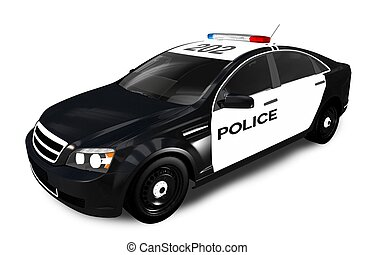 Modern Police Cruiser Isolated on White. Police Car 3D...
