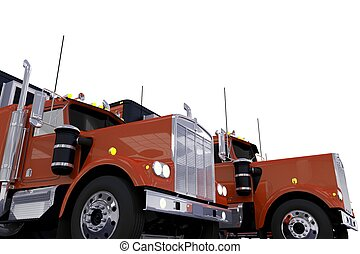 Semi Trucks Convoy - Truck Stop Parking Concept...