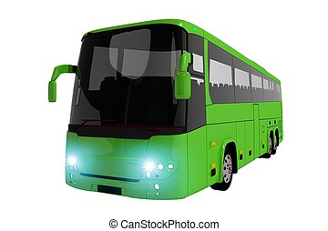 Green Coach Bus Isolated on White Modern Coach Bus...