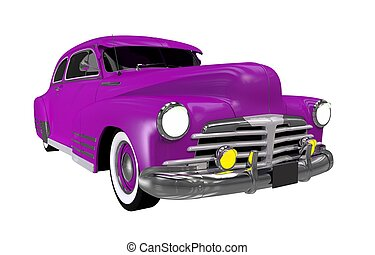 Purple Classic Car Isolated on White Solid Background....