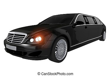 Black Stretch Limousine Illustration Isolated on White...