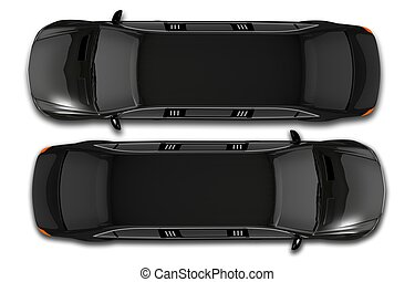 Black Limos Top View Illustration 3D. Isolated Top View...