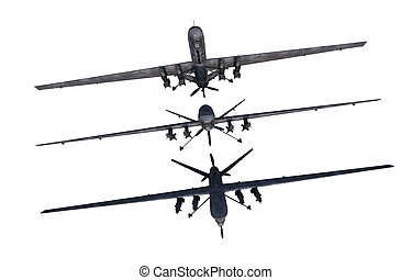 Drones Illustration Military Drones Isolated on White Three...