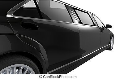 Black Limousine Side View Closeup Illustration on White