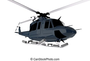 Dark Blue Chopper Isolated on White. Helicopter...