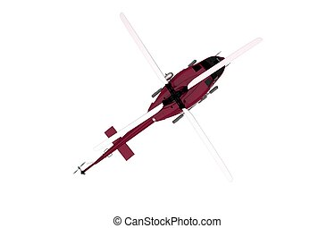 Top View Helicopter Isolated - Top View Red Helicopter...