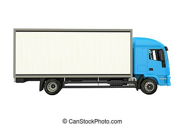 Blue Cargo Truck Isolated on White. Cargo Truck Side View...