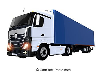 Euro Semi Trailer Truck Illustration Isolated on White. Semi...
